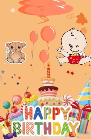 宝宝生日可爱邀请函卡通小清新宝贝网上发的请柬