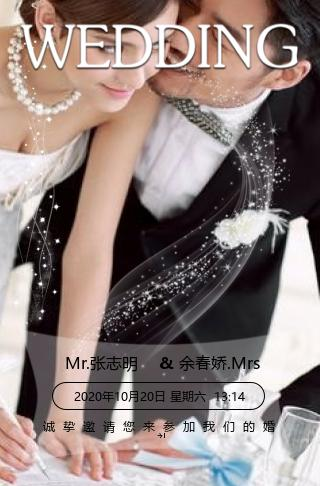 清新唯美大气轻奢韩式婚礼粒子邀请函模板
